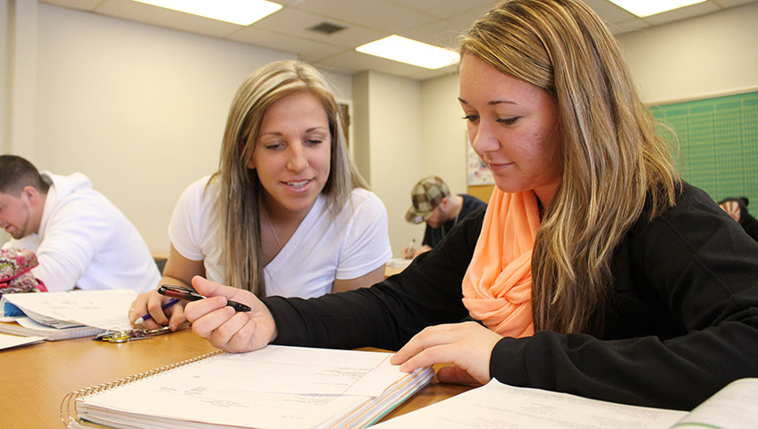 Two Accounting Students Working Together